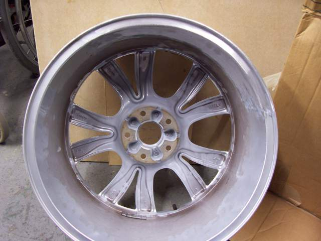 Image of an aluminium car wheel after repair carried out