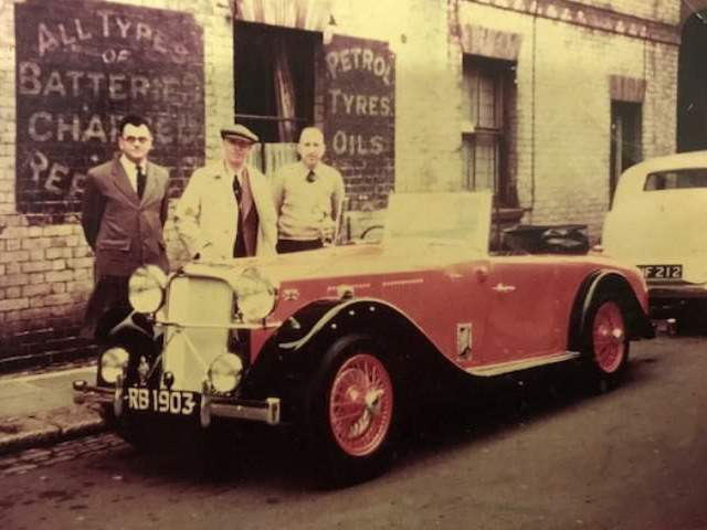 Image of the Rixon Bucknall Jaguar with Lt-Col. Rixon Bucknall, Mr. Eric Brown and Mr. Leslie Tye