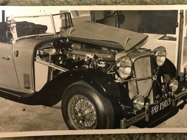 Image of the Rixon Bucknall Jaguar front off side with bonnett open showing the engine